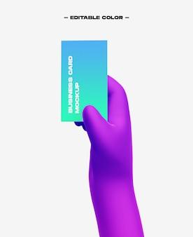 3d мультфильм рука с макетом визитной карточки