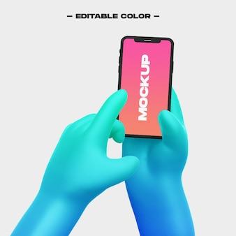 3d мультяшная рука с макетом телефона