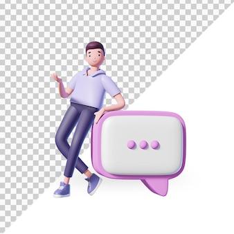 3d мультипликационный персонаж с иконой чата