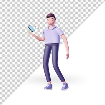 3d мультяшный мужской персонаж с телефоном
