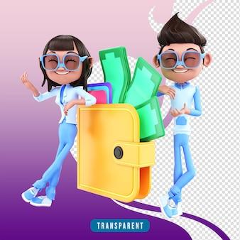 財布と3dキャラクターのカップル