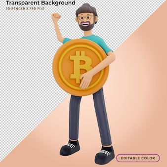 3d character and cryptocurrency. 3d illustration.