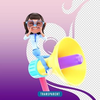 확성기와 3d 캐릭터 여성 프리미엄 PSD 파일