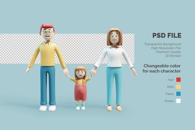 3d 캐릭터 행복한 가족 일러스트