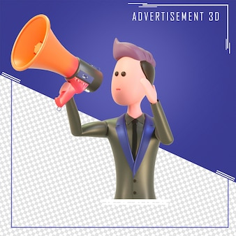 3d character holding a loudspeaker