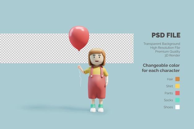 그녀의 손에 풍선과 함께 3d 캐릭터 아이