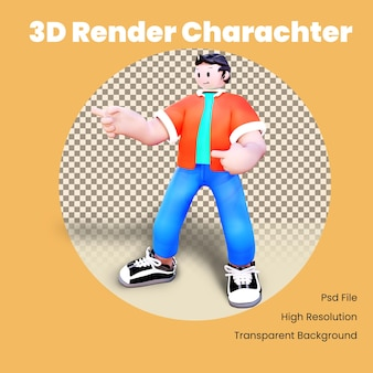 すべての手を指す3dキャラクター