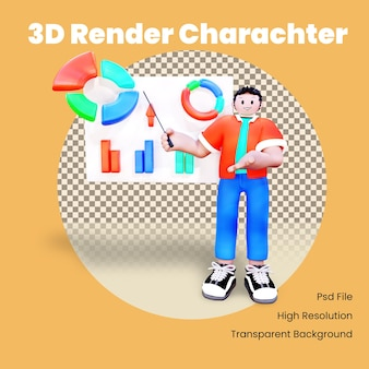 3d character presenting a chart