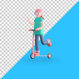 3d персонаж катается на самокате premium psd