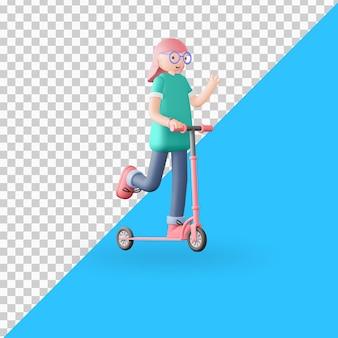 3d персонаж катается на скутере 2 premium psd