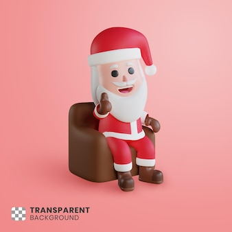 3차원, 성격, 산타클로스, 착석, 와, 의자, 와, 엄지손가락, sugn