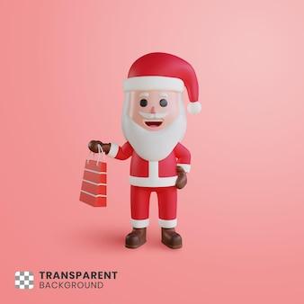 3d character santa claus with a shopping bag