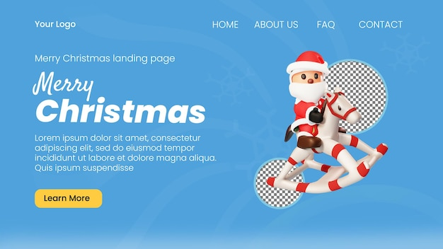 3d 캐릭터 산타를 타고 크리스마스 말 장난감 방문 페이지 템플릿