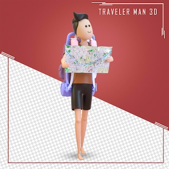3d character tourist stands with a large back bag and map