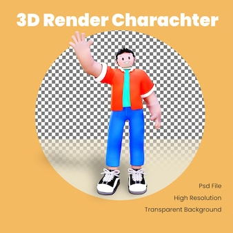 3d character waving and smile