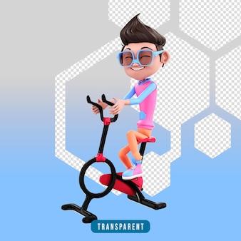 피트니스 사이클을 사용하는 3d 캐릭터