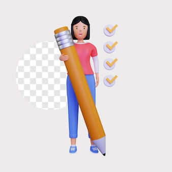 3d checklist illustration with a female character holding a large pencil