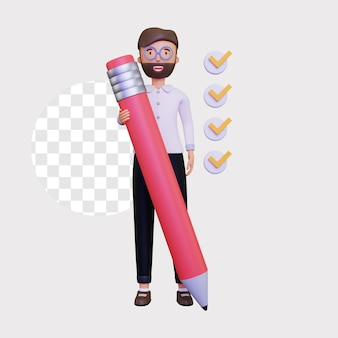 3d checklist illustration with a male character holding a large pencil