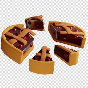 3d вишневый пирог, разрезанный на разные акции, концепция выплаты дивидендов, 3d-рендеринг