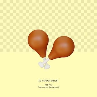 3d 닭 허벅지 고기 illustratin 개체 렌더링 프리미엄 psd