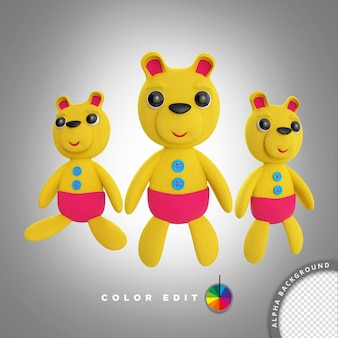3d childrens toy yellow fluffy bear illustration for childrens day makeup