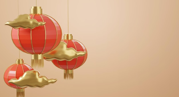 3d chinese design with cloud and red lanterns rendering Premium Psd