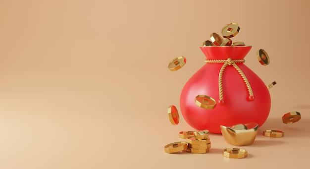 금, 동전 및 행운의 가방 렌더링 3d 중국 디자인