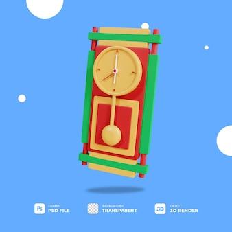 투명 한 배경으로 3d 크리스마스와 새 해 시계