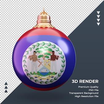 3d 크리스마스 공 벨리즈 플래그 렌더링 전면 보기