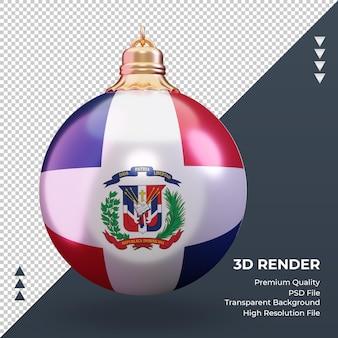 3d 크리스마스 공 도미니카 공화국 국기 렌더링 전면 보기