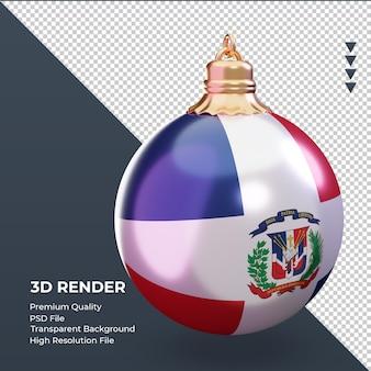 3d 크리스마스 공 도미니카 공화국 국기 렌더링 왼쪽 보기