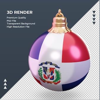 3d 크리스마스 공 도미니카 공화국 국기 렌더링 오른쪽 보기