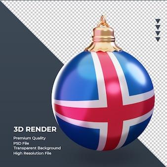 3d рождественский шар флаг исландии рендеринг слева
