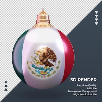 3d 크리스마스 공 멕시코 국기 렌더링 전면보기