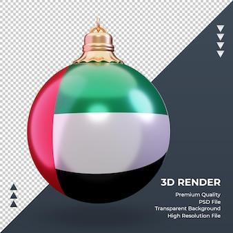 3d 크리스마스 공 아랍 에미리트 국기 렌더링 전면보기