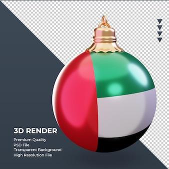 3d 크리스마스 공 아랍 에미리트 플래그 렌더링 왼쪽 보기