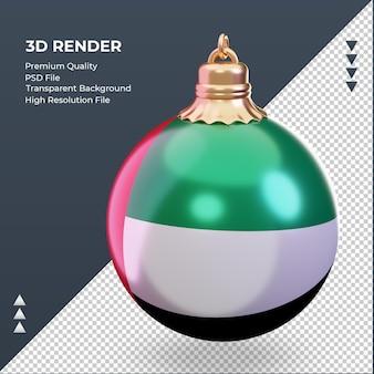 3d 크리스마스 공 아랍 에미리트 플래그 렌더링 오른쪽 보기