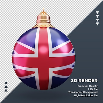 3d christmas ball united kingdom flag rendering front view