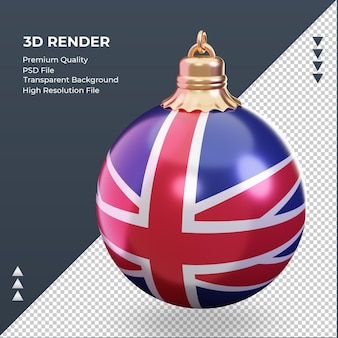 3d christmas ball united kingdom flag rendering right view