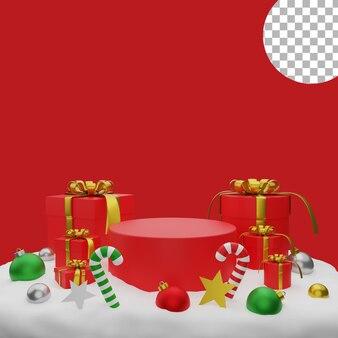 3d рождественские шары подарочная коробка снежный подиум пост фоновая иллюстрация высокого качества