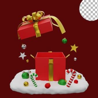 3d рождественские шары снег иллюстрация подарочная коробка значок объект активы высокое качество