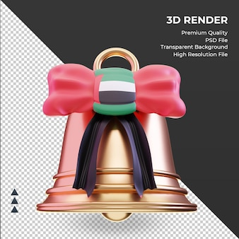 3d christmas bell united arab emirates flag rendering front view