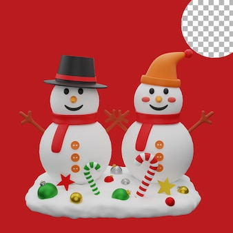 3d рождественская пара снеговик шары снеговика значок активы изолированных иллюстрация высокое качество