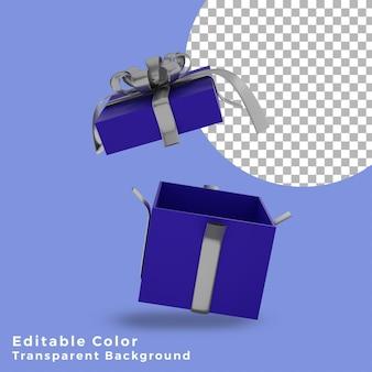 3d 크리스마스 선물 상자 파란색은 은색 활 고품질로 열려 있습니다.