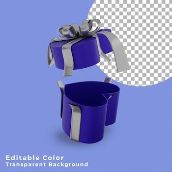 3d 크리스마스 선물 상자 사랑 블루 실버 활 고품질 오픈