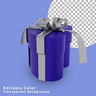 3d 크리스마스 선물 상자 사랑 블루 실버 활 고품질