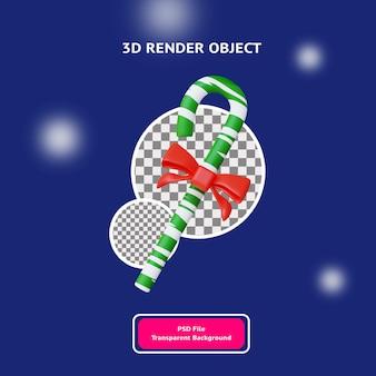 3d рождество зеленые конфеты ленты объект иллюстрация визуализации
