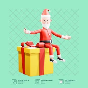 3d 크리스마스 그림입니다. 큰 크리스마스 선물에 기분 좋게 앉아 있는 산타