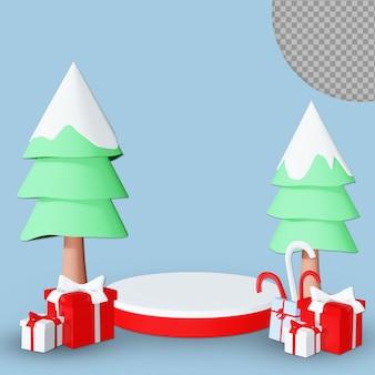 分離されたギフトボックスのデザインと3dクリスマス表彰台