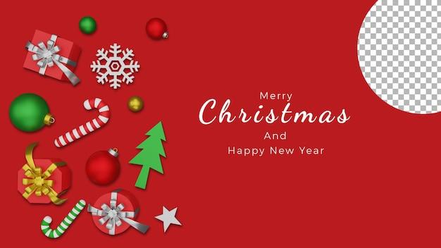 3dクリスマスポスター背景ボール雪ギフトボックストップビューアイコンアセット